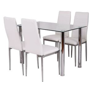 White Dining Chair and Table Set - 5 Piece for Sale in Miami, FL