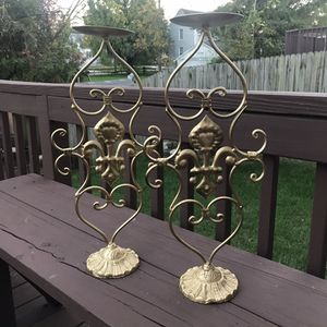 "Gold Metallic Candle Holders 23"" for Sale in Baltimore, MD"