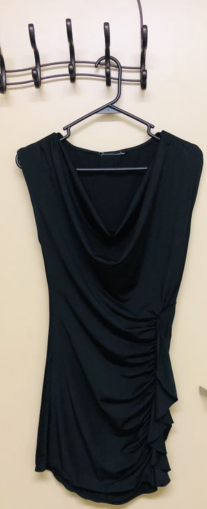 Black ruffled short silky dress (size small) for Sale in Vancouver, WA