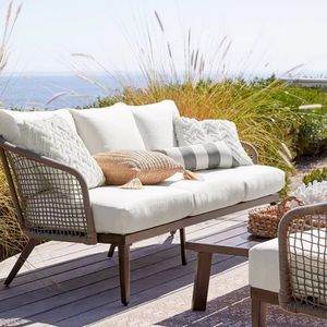 New..Oversized Rope Patio Sofa and Coffee Table Set - Linen for Sale in Boca Raton, FL