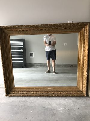 Classic detailed Antique gold mirror, oversized and heavy for Sale in Sudbury, MA