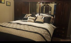King size Bed & Dresser and frame lights and mirrors for Sale in Modesto, CA