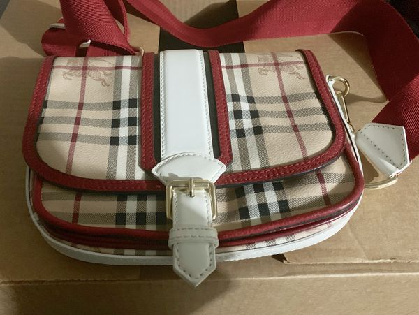Authentic Burberry Messenger Bag Red White Signature Check