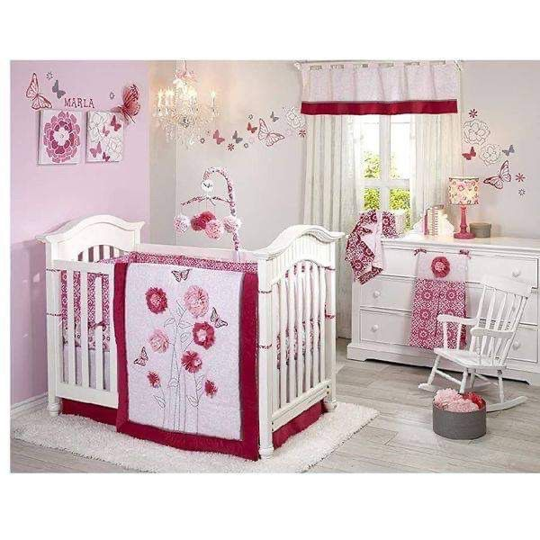 Butterfly Bouquet Baby Girl Crib Bedding Set