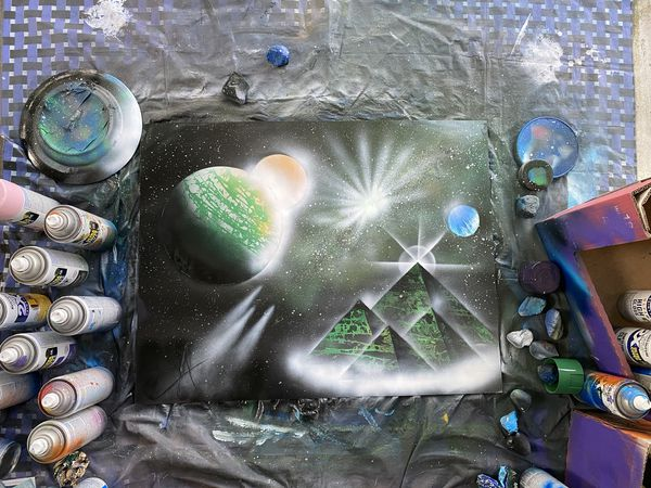 Ancient galaxy Spray Paint Art made by Breezy Flames