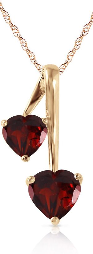 14K.SOLID GOLD HEARTS NECKLACE WITH NATURAL GARNETS for Sale in Los Angeles, CA