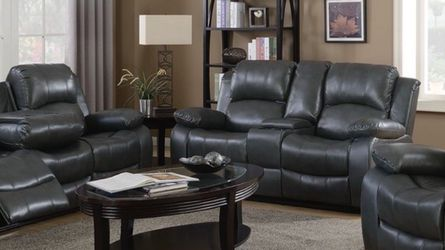 Gray Reclining Leather 3 Piece Sofa Set for Sale in Atlanta,  GA