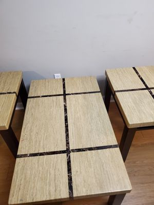 3 PC beige and brown table and end tables for Sale in Tallahassee, FL
