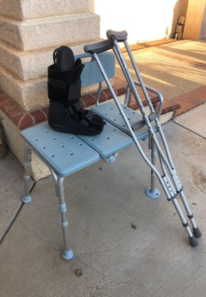 Bath chair, boot, evenup, crutches for Sale in Riverside, CA