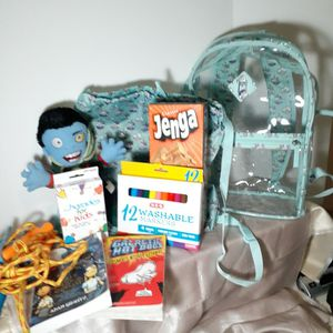 Clear Plastic Backpack Full Size With Recreational Items. for Sale in San Antonio, TX