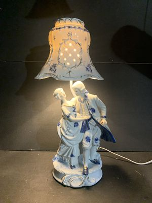 "Vintage Handpainted Blue/White Victorian Couple Porcelain Table Lamp with Porcelain Shade (Height: 20"") for Sale in Dade City, FL"