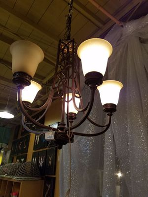 5 light Bronze color chandelier w/ gold glass for Sale in Dallas, TX