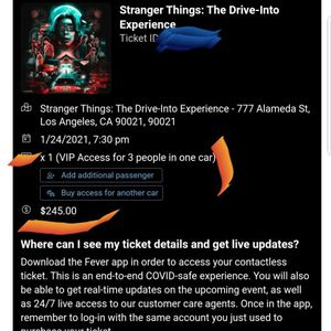 STRANGER THINGS VIP 3 TICKETS for Sale in Corona, CA