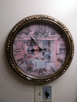WALL CLOCK WITH PARIS THEME for Sale in Golden, CO