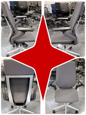 2019 STEELCASE GESTURE CHAIRS GREY FABRIC SILVER BASE/FRAME RATED #1 CHAIR FOR WORK OR GAMING ADJUSTABLE ARMS LUMBAR for Sale in Alhambra, CA