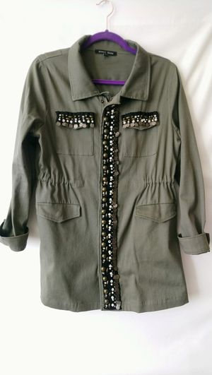 Sweet Rain Green Khaki Women's Jacket With Drawstring And Bedazzled Details Size L for Sale in Takoma Park, MD