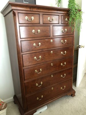 Tall Dresser and Nightstand Dark Wood for Sale in Solon, OH