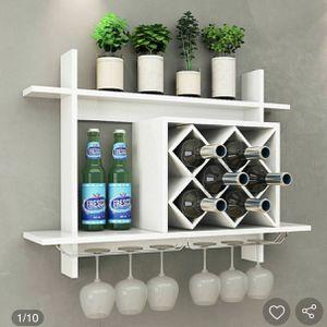 Household Wall Mount Wine Rack Organizer with Glass Holder Storage Shelf for Sale in Hacienda Heights, CA