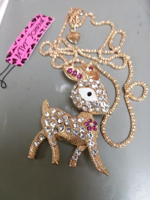 Beautiful REINDEER Pendant Necklace with Crystals on a Long Gold Color Chain by Betsey Johnson. for Sale in The Bronx, NY