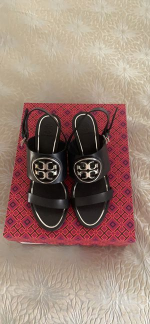 Brand new Tory Burch Metal Miller 65mm Wedge size 7.5 (US) color: perfect navy and silver. for Sale in Woodbridge, VA