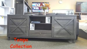 NEW IN THE BOX. ORACLE TV STAND UP TO 85IN TVS, DISTRESSED GREY, SKU 182290, SKU#TC 182290S for Sale in Santa Ana, CA