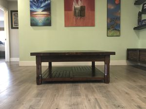 Solid acacia wood coffee table and entertainment console for Sale in San Diego, CA