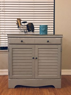Gray antique solid wood distressed farmhouse coffee bar server buffet changing table for Sale in Rancho Cucamonga, CA