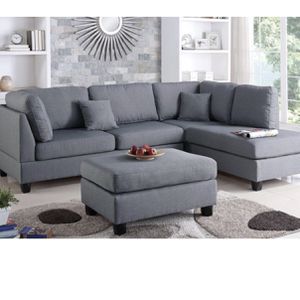 Grey Sectional Sofa Ottoman Included for Sale in Los Angeles, CA