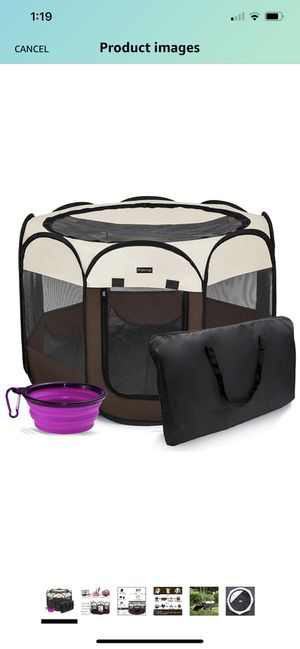 Hepeeng Portable Foldable Pet Playpen and Carrying Case Collapsible Travel Bowl Indoor/Outdoor Use with Water Resistant and Removable Shade Cover for for Sale in Raleigh, NC