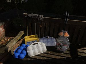 Fun kit, snowball maker, baseball glove, badminton set (rackets and birdies) for Sale in Stamford, CT
