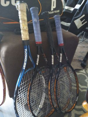 2Racket ball rackets , 3 tennis rackets and carry bag for Sale in Phoenix, AZ
