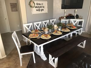 ❤️$550 large farmhouse dining set table 6 chairs white dark brown walnut bench trestle base 8 foot for Sale in Laveen Village, AZ
