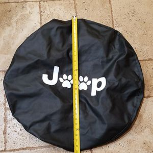 @CHV REAR SPARE BLACK TIRE COVER WITH DOG 🐾 PAWS DESIGN FOR J 🐾 P. JEEP 28 INCHES UNSTRETCHED FITS BIGGER TIRES DUE TO THE ELASTIC. #58 for Sale in Santa Clarita, CA