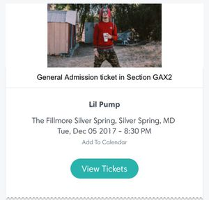LIL PUMP TICKET SILVER SPRING/WASHINGTON DC for Sale in Rockville, MD