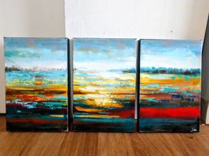 Canvas Oil Paintings - Abstract 100% Hand Painted Artwork - Set of 3 for Sale in Everett, MA