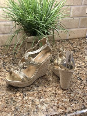 Shiney Gold size 7 wedges for Sale in Smyrna, TN
