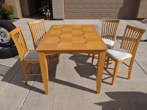 Dining or kitchen Pub Table and 4 chairs with extra leaf for Sale in Apache Junction, AZ