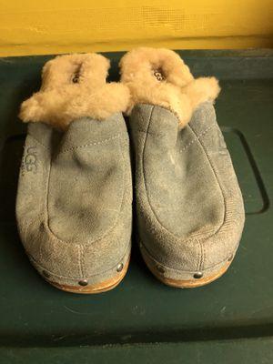 Pre Loved Women Authentic UGGS AUSTRALIA Powder Blue Suede Clogs Sheepskin w/ Wooden Heel sz9M for Sale for sale  Irvington, NJ