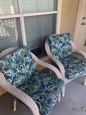 2 Outdoor Wicker Chairs with Cushions for Sale in Houston, TX