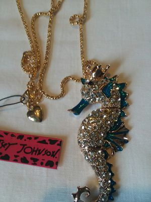 Beautiful SEAHORSE with Crystals Necklace on a long Gold Color Chain by Betsey Johnson for Sale in The Bronx, NY