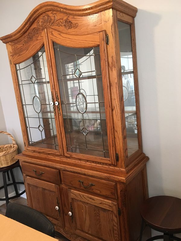 Carved China hutch