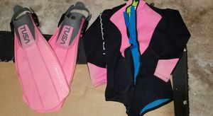 Scuba Diving gear Womens Fins and wetsuit for Sale in Pompano Beach, FL