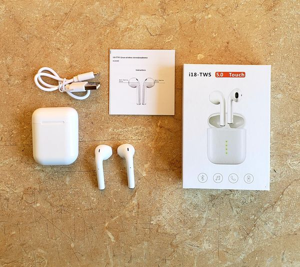i18 Earphones Bluetooth 5 Earbuds Wireless 3D Sound Headsets Headphones for Android iphone