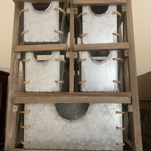 Organizer With Mini Drawers Rustic Wood And Tin Design for Sale in Rancho Cucamonga, CA