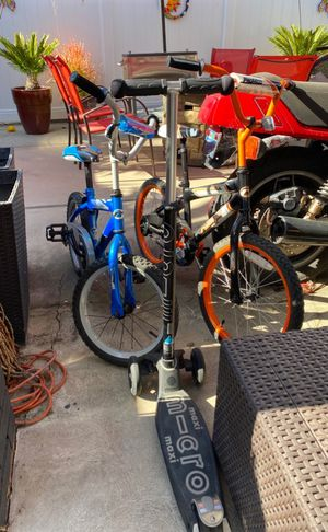Maxi Micro Scooter & Kids bikes bundle for Sale in Huntington Beach, CA