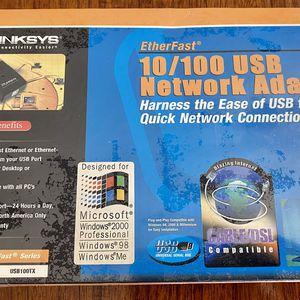 NEW NEVER OPENED NOS LINKSYS ETHERFAST 10/100 USB NETWORK ADAPTER MODEL USB100TX for Sale in Glendale, AZ