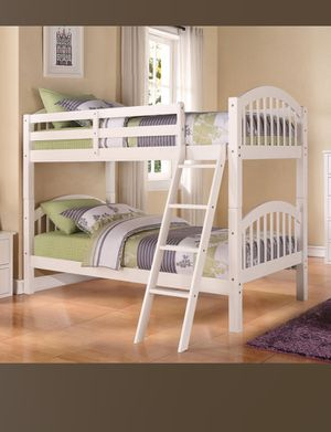 💥Kids Furniture Sale💥 White Twin Wood Bunk Bed W/ Slats Brand New In Box! $50 Down Takes It Home Today! for Sale in Newport News, VA