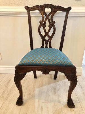 Antique Regal Mahogany Chippendale Carved Claw Foot Side Stanley Desk Chair Medieval Throne for Sale in Pompano Beach, FL