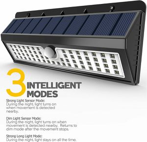 Lemontec Solar Lights, 62 LED Wall Solar Light Outdoor Security Lighting Nightlight with Motion Sensor Detector for Garden Back for Sale in Ontario, CA