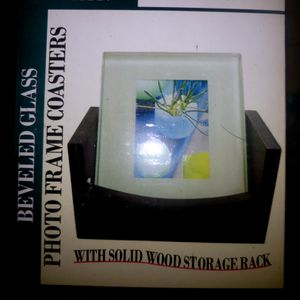 Set of 4 Glass Photo Frame Coasters + Wood Storage Rack Tray for Sale in Henderson, NV